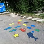 Asfaltsmålningar vid den populära vattenbanan